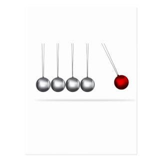 newtons cradle silver balls concept post card
