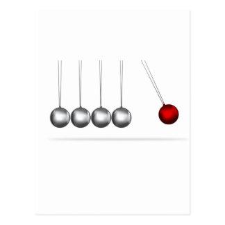 newtons cradle silver balls concept postcard