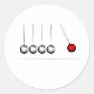 newtons cradle silver balls concept classic round sticker