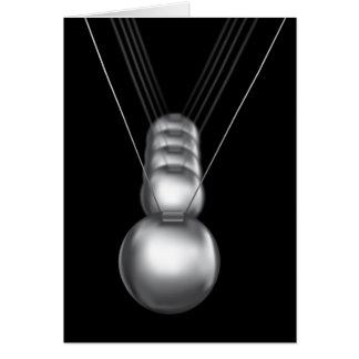 newtons cradle silver balls on black background card