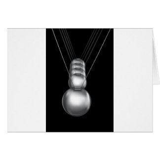 newtons cradle silver balls on black background greeting card