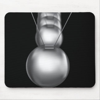 newtons cradle silver balls on black background mousepad
