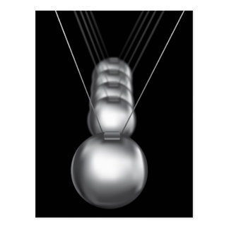 newtons cradle silver balls on black background postcard