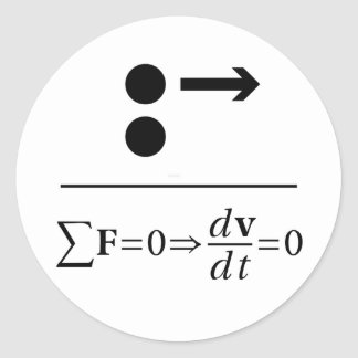 Newton's First Law Classic Round Sticker