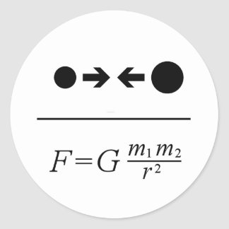 Newton's Law Of Gravitation Classic Round Sticker