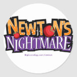Newtons Nightmare Physics Game Gear Round Stickers