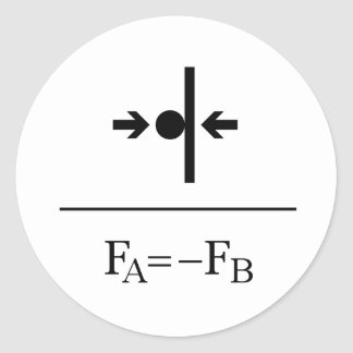 Newton's Third Law Classic Round Sticker