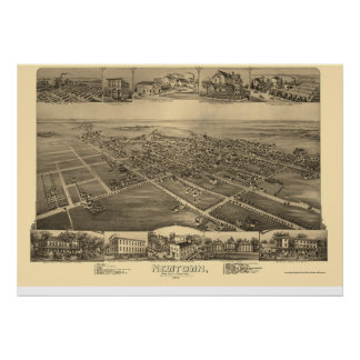 Newtown, mapa panorámico del PA - 1893 Póster