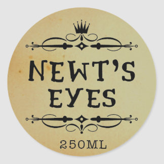 Newts Eyes Vintage Apothecary Halloween Labels Classic Round Sticker