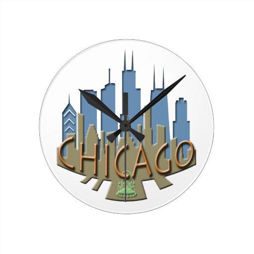 Newwave del horizonte de Chicago con playas Reloj De Pared