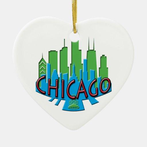 Newwave del horizonte de Chicago primario Adorno De Navidad