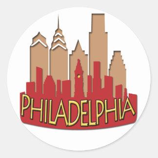 Newwave del horizonte de Philly caliente Pegatinas Redondas