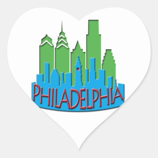 Newwave del horizonte de Philly primario Pegatina En Forma De Corazón