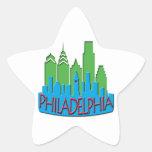 Newwave del horizonte de Philly primario Calcomanías Forma De Estrellaes