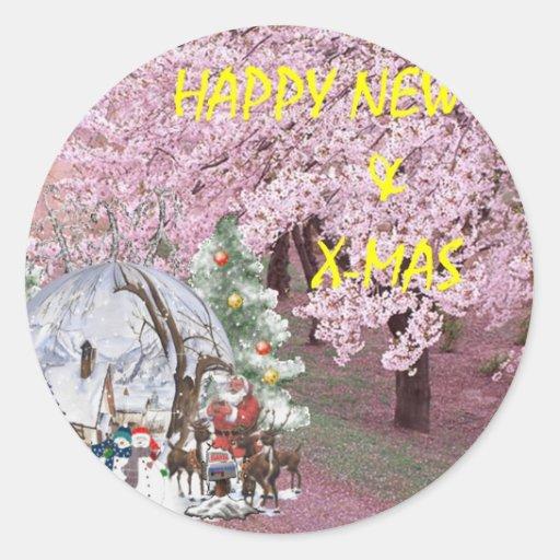 newyear&x-feliz pegatina redonda