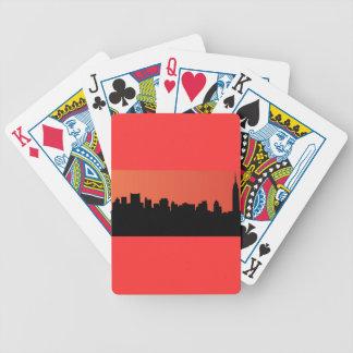 newyork skyline comic style bicycle playing cards