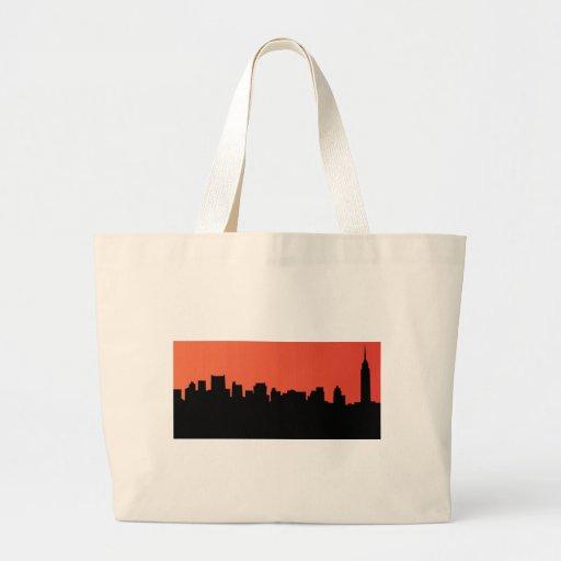newyork skyline comic style jumbo tote bag