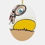 Next Egg Inspection Man Cartoon Double-Sided Oval Ceramic Christmas Ornament