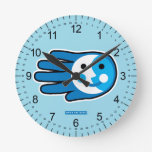 Hand shaped Next Full Blue Moon Smile Round Clock