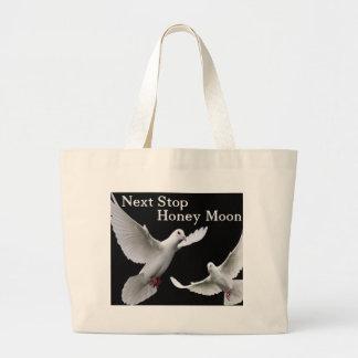 next, stop honey moon large tote bag