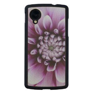Nexus 5 Wooden Case with Purple Dahlia Image