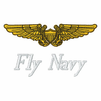 NFO Wings W/F-14 and Fly Navy Embroidered Shirt