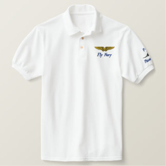 NFO Wings W/F-4 and Fly Navy Embroidered Polo Shirt