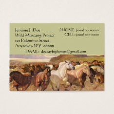 NFP WILD MUSTANG HORSES CONTACT BUSINESS CARD at Zazzle