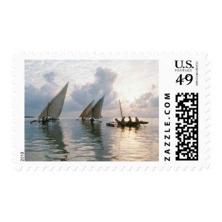 Ngalawas Boats At Dawn, Pemba Island, Tanzania Postage