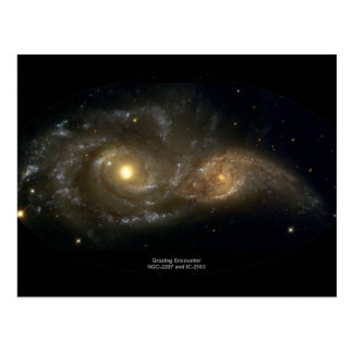 NGC-2207 and IC-2163 Grazing Galaxies Postcard