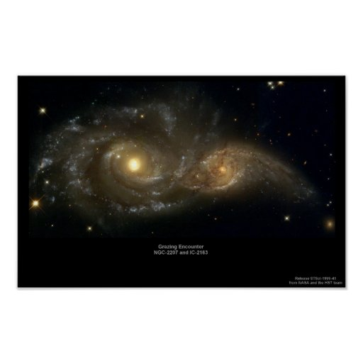 NGC-2207 and IC-2163 Grazing Galaxies Posters