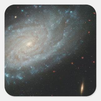 NGC 3370, espacio profundo, galaxia espiral Pegatina Cuadrada