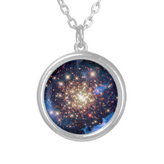 NGC 3603 Star Cluster - NASA Hubble Space Photo Silver Plated Necklace