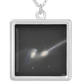NGC 4676, also known as the Mice Galaxies Silver Plated Necklace