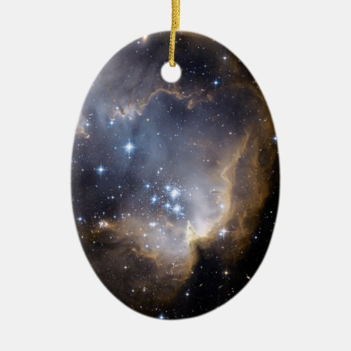 NGC 602 bright stars in the Milky Way Double-Sided Oval Ceramic Christmas Ornament