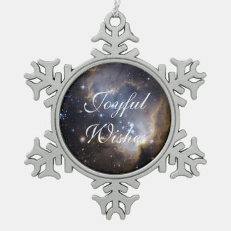 NGC 602 bright stars Snowflake Pewter Christmas Ornament