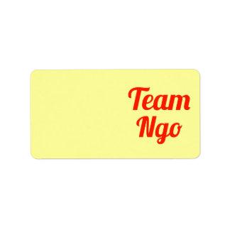 Ngo del equipo etiquetas de dirección