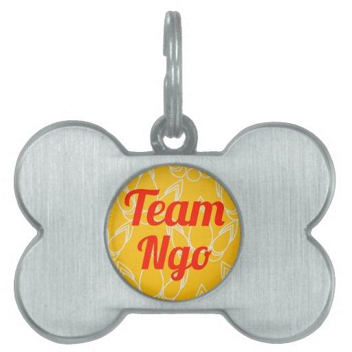 Ngo del equipo placa de nombre de mascota