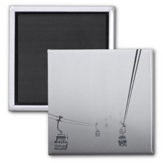 Ngong Ping Cable Car in thick fog 2 Inch Square Magnet