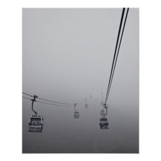 Ngong Ping Cable Car in thick fog Poster