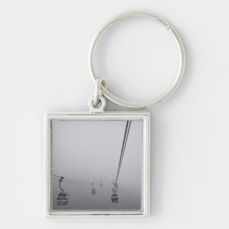 Ngong Ping Cable Car in thick fog Silver-Colored Square Keychain