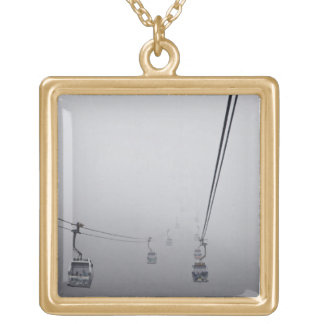 Ngong Ping Cable Car in thick fog Square Pendant Necklace
