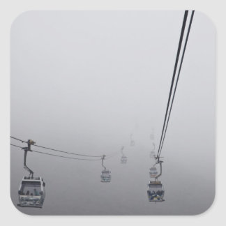 Ngong Ping Cable Car in thick fog Square Sticker