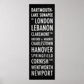 NH Bus Poster - Dartmouth Lake Sunapee