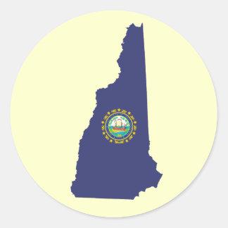 NH State Flag Round Sticker
