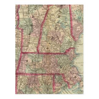 NH, Vt, Mass, RI, Conn Postcard