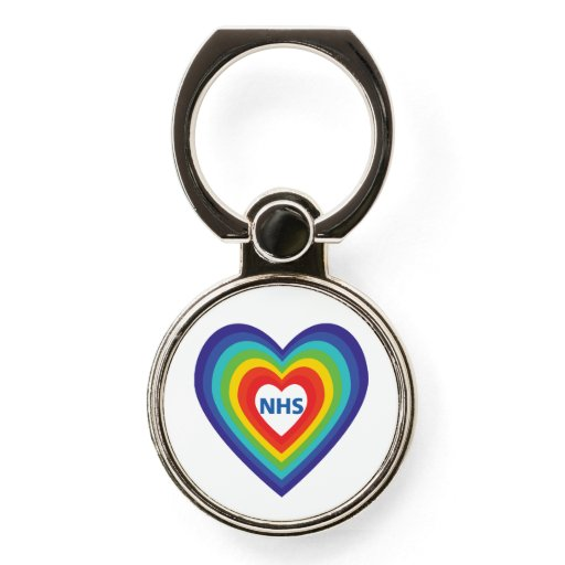 NHS R2 Rainbow Love Hearts Phone Case Ring Holder