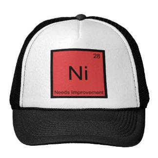 Ni - Needs Improvement Funny Chemistry Element Tee Mesh Hats