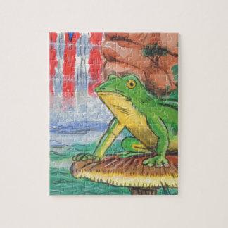 Ni pintado a mano de la caída del agua de la rana  rompecabezas con fotos