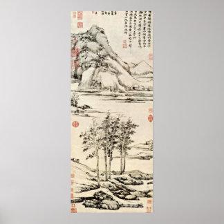 Ni Zan - árboles en un River Valley en Yu-shan Impresiones